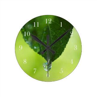 Green Leaf on Green with Dew Drop Wall Clock