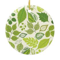 Green Leaf Pattern Ceramic Ornament