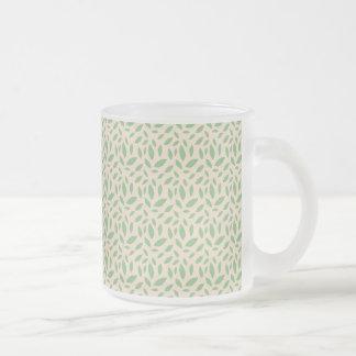 Green Leaf Pattern Frosted Glass Coffee Mug