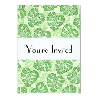 Green Leaf Pattern. 5x7 Paper Invitation Card