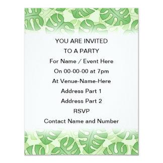 Green Leaf Pattern. 4.25x5.5 Paper Invitation Card