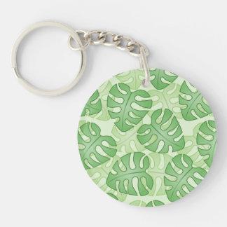 Green Leaf Pattern. Acrylic Keychain