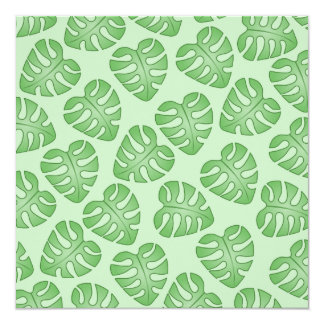 Green Leaf Pattern, Monstera Leaves. 5.25x5.25 Square Paper Invitation Card