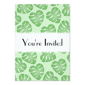 Green Leaf Pattern, Monstera Leaves. 5x7 Paper Invitation Card