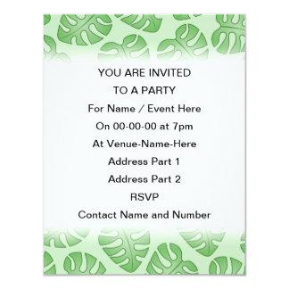 Green Leaf Pattern, Monstera Leaves. 4.25x5.5 Paper Invitation Card