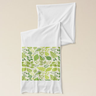 Green Leaf Pattern Scarf