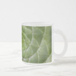 green leaf pattern spiral design frosted glass coffee mug
