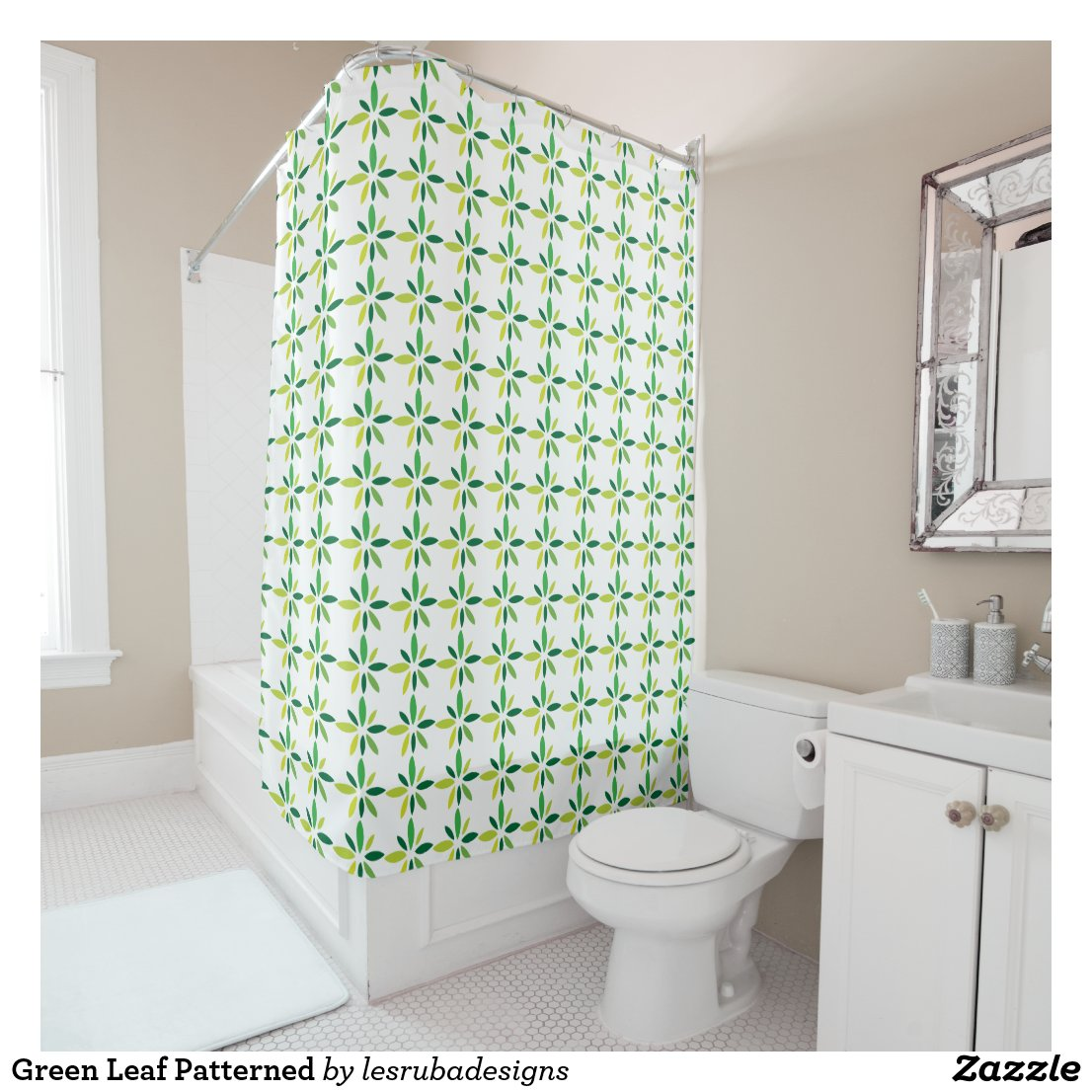Green Leaf Patterned Shower Curtain