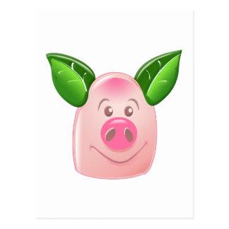 Green Leaf Pig Postcard