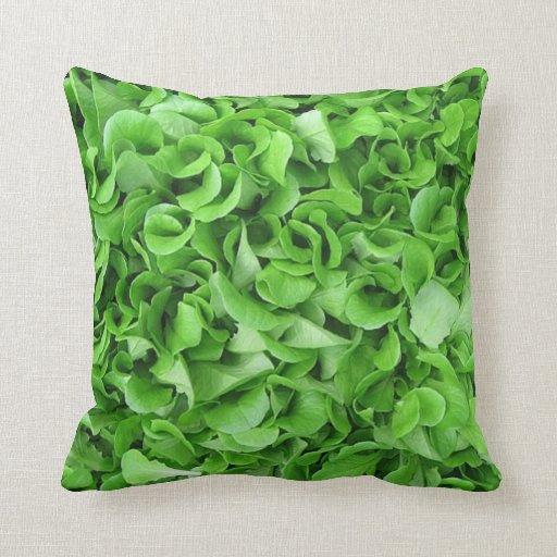 Green leaf print garden pillow