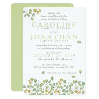 Green Leaf Simplicity 5x7 Wedding Invitation Card