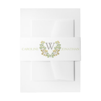 Green Leaf Simplicity Invitation Belly Bands Invitation Belly Band