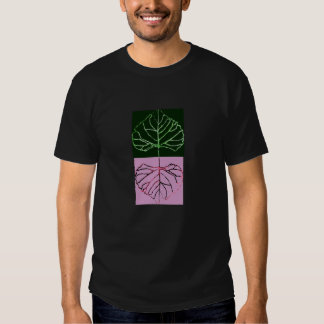 """Green leaf skeleton and red """"mirror shadow"""" t-shirt"""