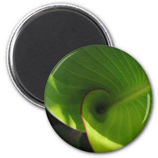 Green Leaf Swirl 2 Inch Round Magnet