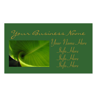 Green Leaf Swirl Business Card Template