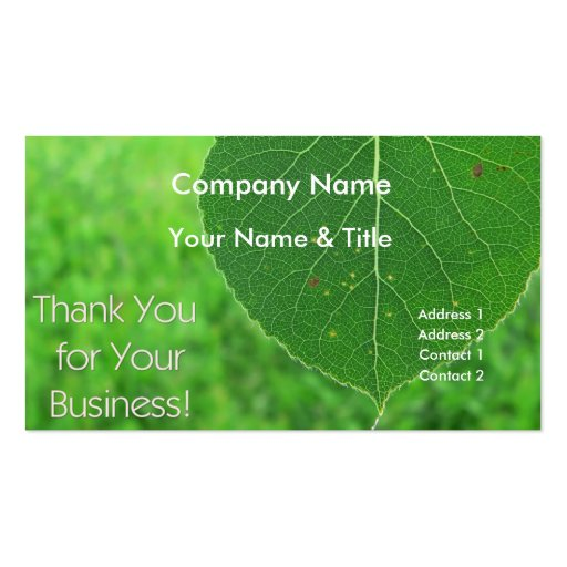 Green leaf thank you business card zazzle for Leaf business cards