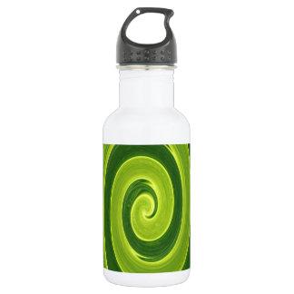 Green leaf twirl stainless steel water bottle