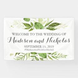 Green Leaf Wedding Banner Decoration, Rustic Green