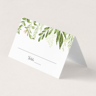 Green Leaf Wedding Folded Place Cards, Greenery Place Card