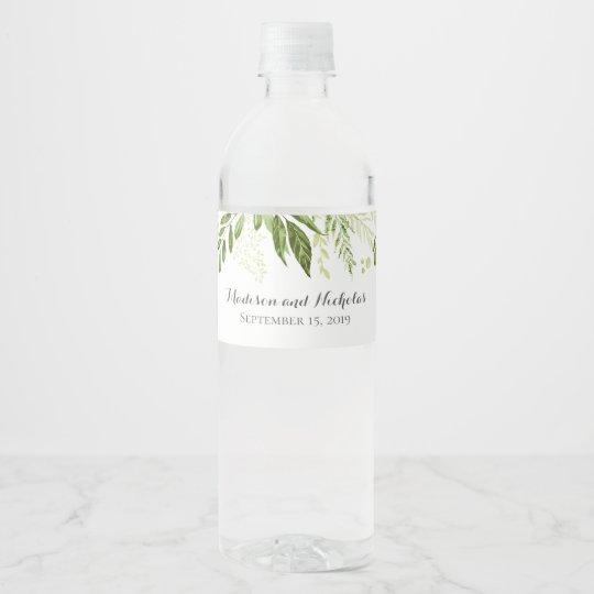 Green Leaf Wedding Water Bottle Labels, Greenery Water