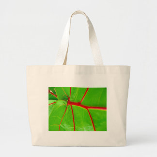 Green Leaf with Red Veins Tote Bag