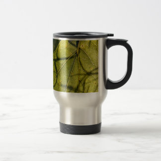 green leaf with Spanish moss tendrils in silhouett Travel Mug