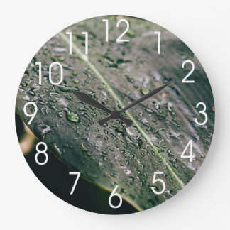 Green Leaf With Water Drops, Wet Botanics Large Clock