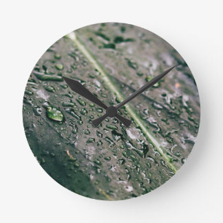 Green Leaf With Water Drops, Wet Botanics Round Clock