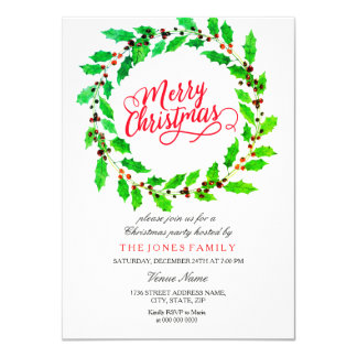 Green Leaf Wreath Family Christmas Party Invite