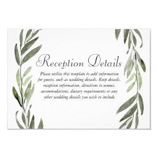 Green Leaf Wreath Wedding Reception details Card