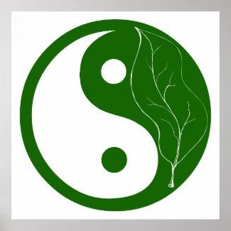 Green Leaf Yin Yang print