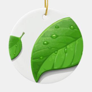 Green Leafs Ceramic Ornament