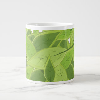 Green Leafs Pattern 20 Oz Large Ceramic Coffee Mug
