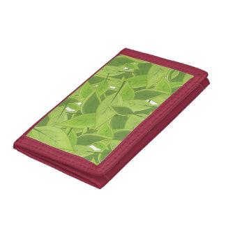 Green Leafs Pattern Tri-fold Wallet