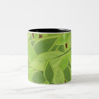 Green Leafs Pattern Two-Tone Coffee Mug