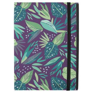 "Green Leafs Seamless Pattern Purple Background iPad Pro 12.9"" Case"