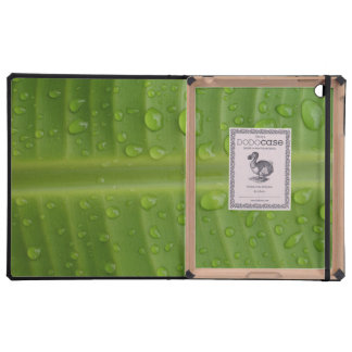 Green Leafs with Droplets iPad Cases