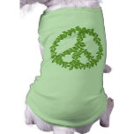 Green Leafy Peace Sign Dog Tee Shirt