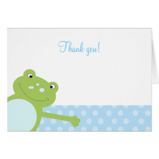 Green Leap Frog Folded Thank you note (Blue) Card