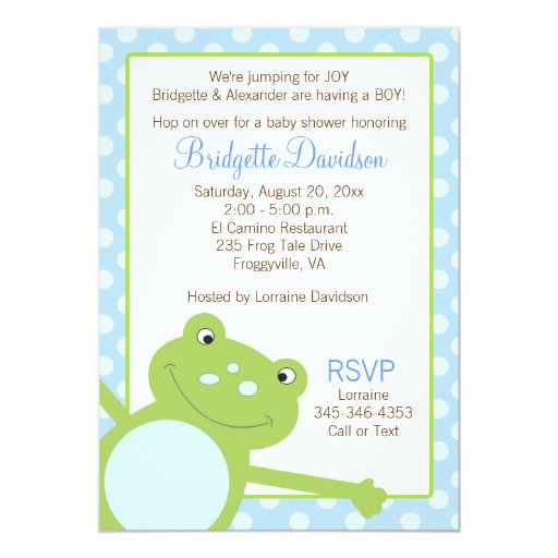 Green Leap Frog Shower Invitation (Blue) 2-sided