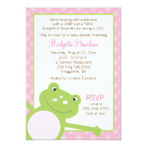 Green Leap Frog Shower Invitation (Pink) 2-sided