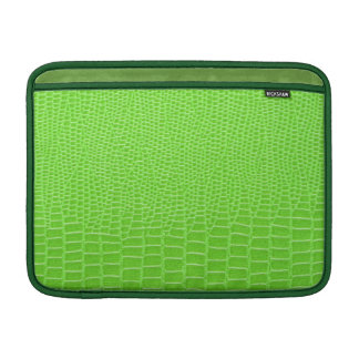 Green leather animal skin print, dark green trims MacBook air sleeve