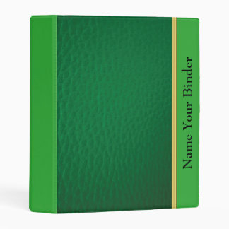 Green leather design with lime leather texture mini binder