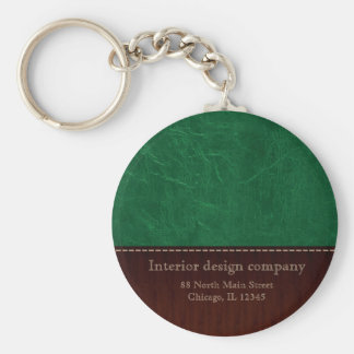 Green leather look keychain