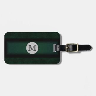 Green Leather Monogramed Bag Tag