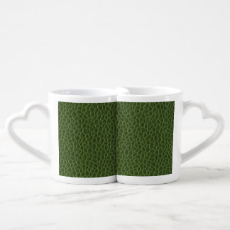 Green Leather Texture Lovers Mug Set