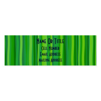 Green Leave & Stripes Double-Sided Mini Business Cards (Pack Of 20)