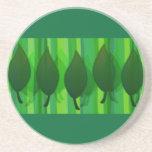 Green Leave & Stripes Coaster