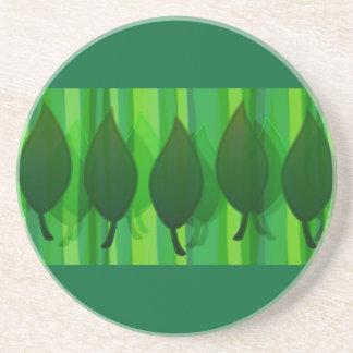 Green Leave & Stripes Drink Coaster