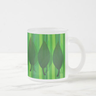 Green Leave & Stripes Frosted Glass Coffee Mug